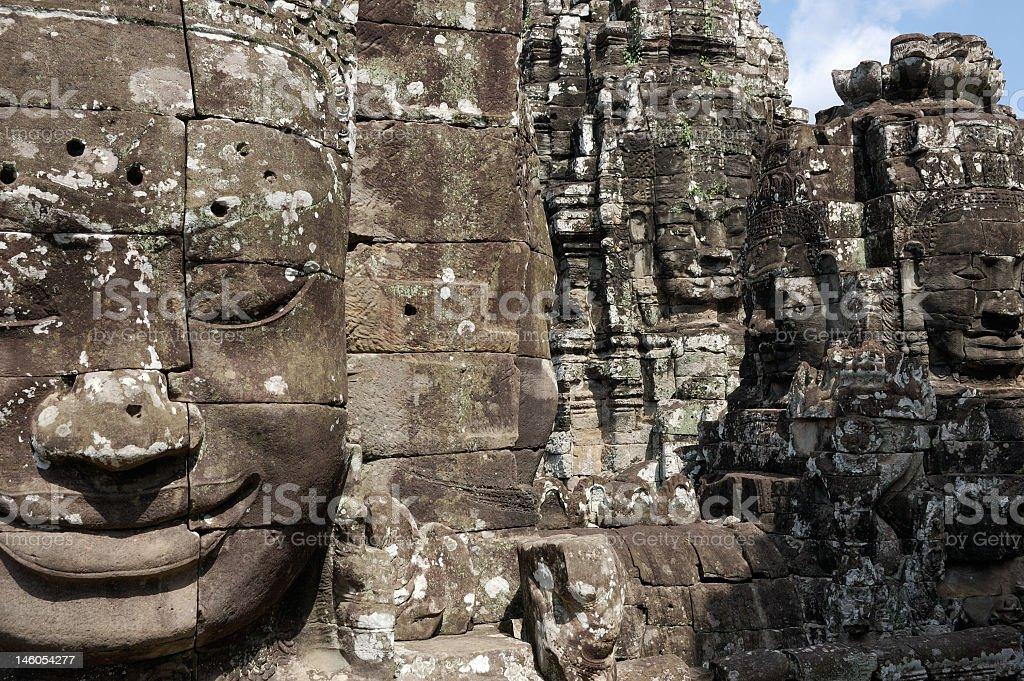 Angkor Thom - face no Bayon temple royalty-free stock photo