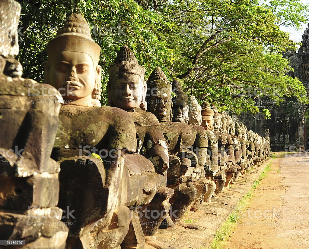 Angkor Thom Front Gate in Cambodia stock photo