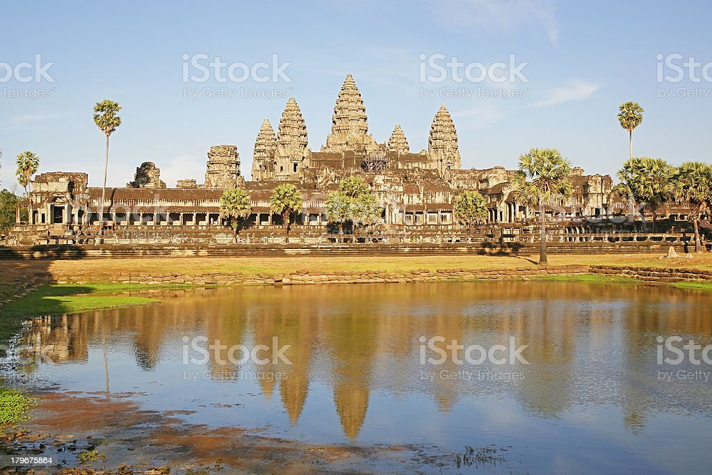 Angkor Wat and late afternoon reflection royalty-free stock photo