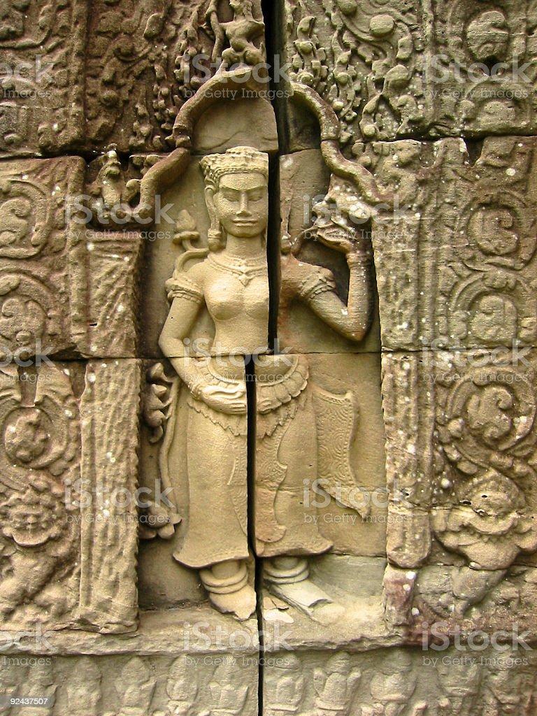 angkor wat asparas temple wall art cambodia royalty-free stock photo