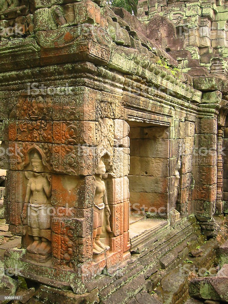 angkor wat asparas temple wall art royalty-free stock photo
