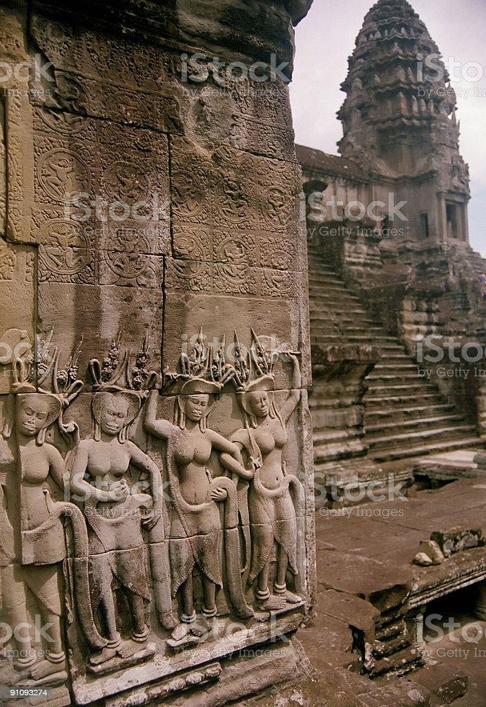 angkor wat asparas wall art cambodia royalty-free stock photo