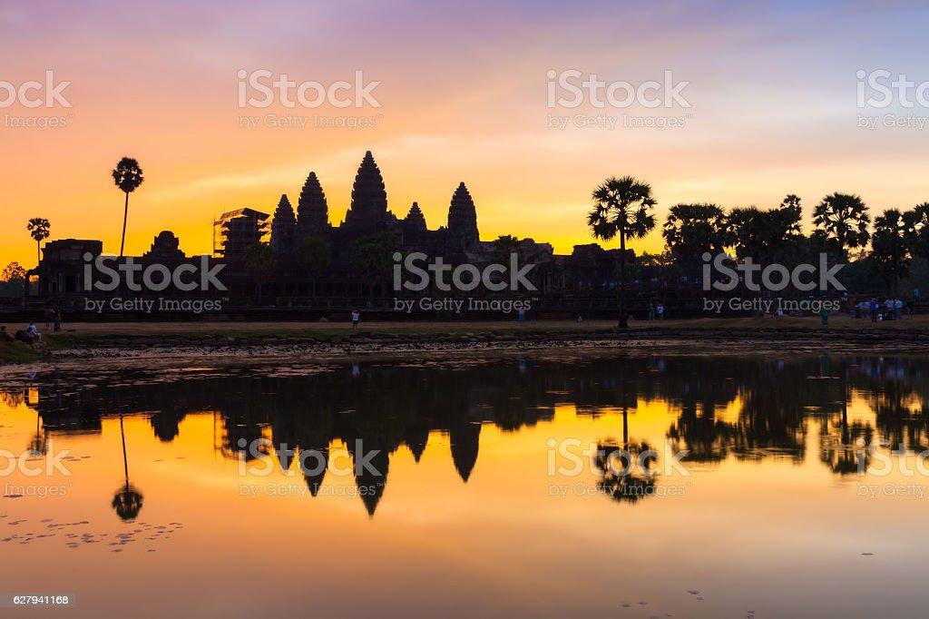 Angkor Wat at Dawn with beautiful sky and reflection. stock photo