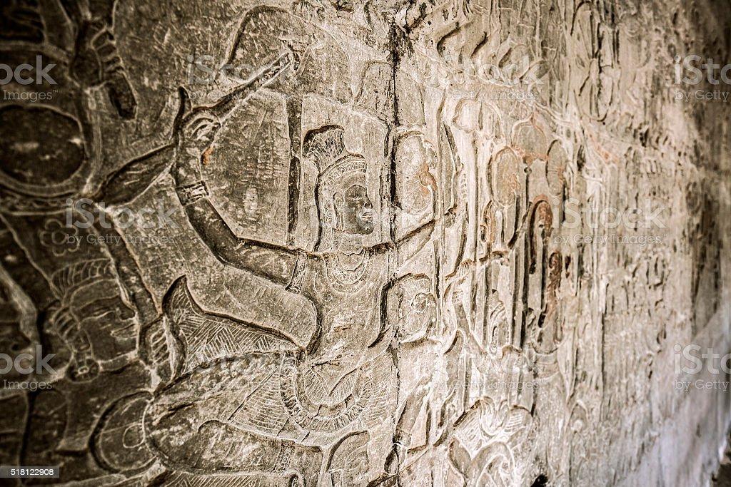 Angkor Wat bas reliefs Cambodia stock photo