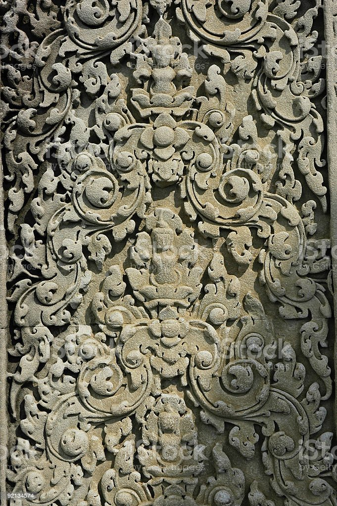 Angkor Wat bas-relief pattern royalty-free stock photo