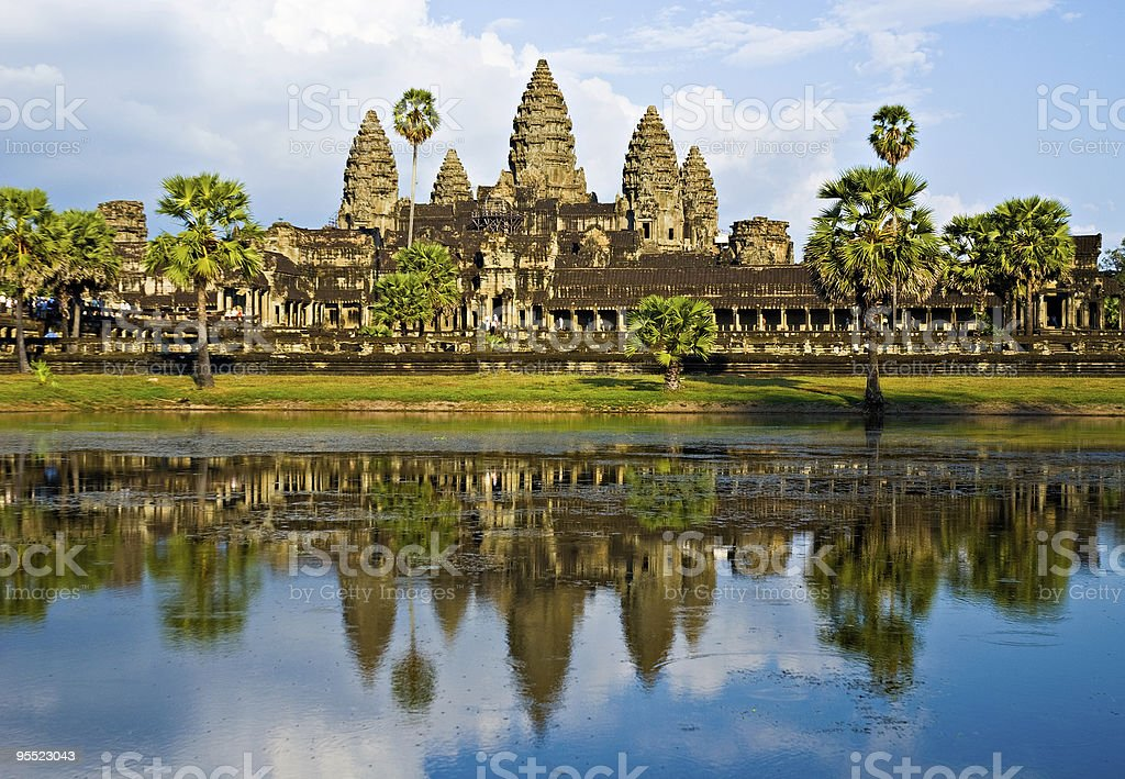 Angkor Wat before sunset, Cambodia. stock photo