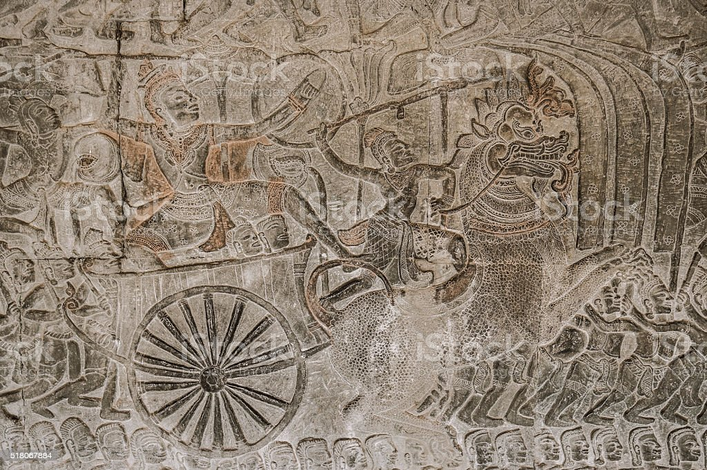 Angkor Wat carvings Cambodia stock photo