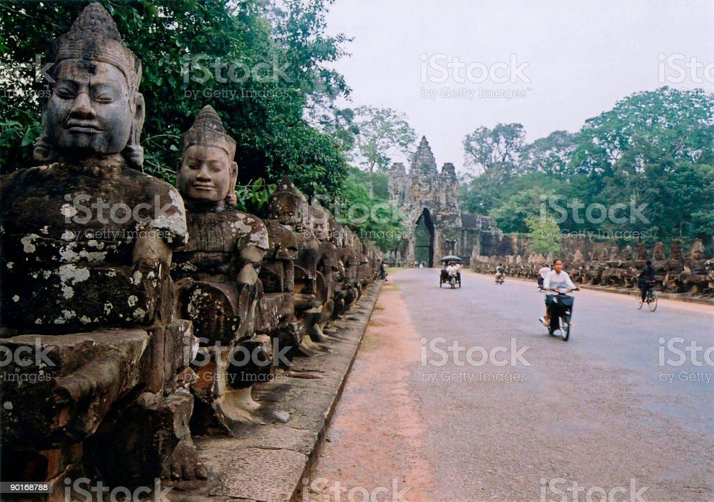 angkor wat gate local road cambodia royalty-free stock photo