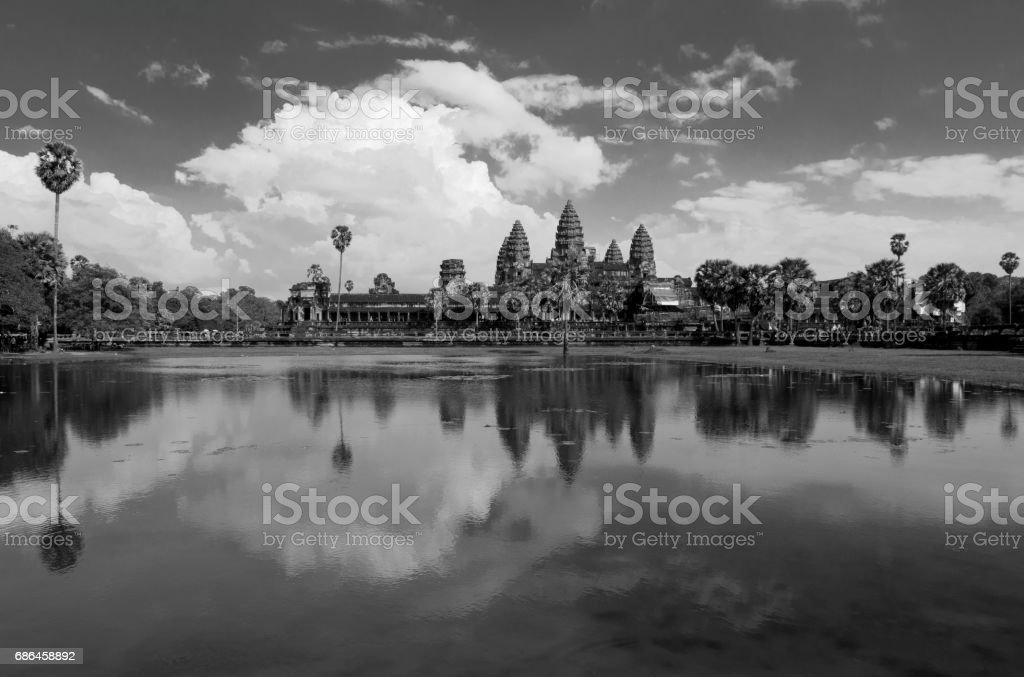 Angkor Wat in Black and White stock photo