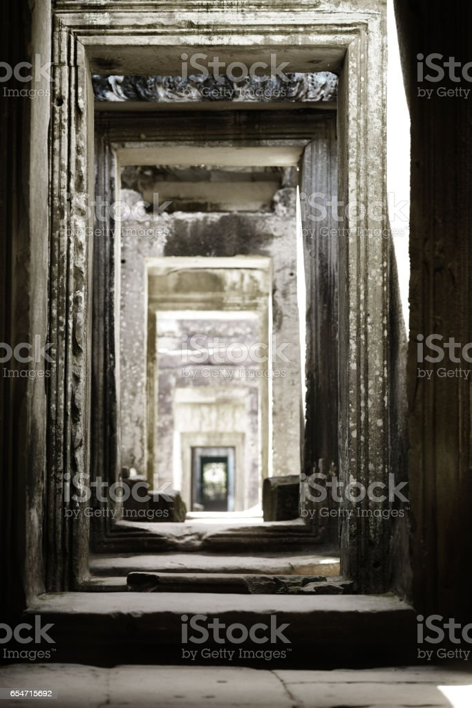Angkor Wat is a popular tourist attraction stock photo