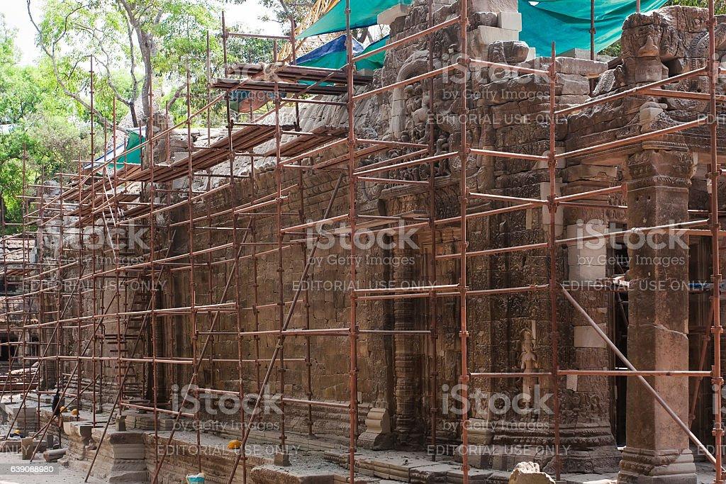 Angkor Wat reconstruction stock photo