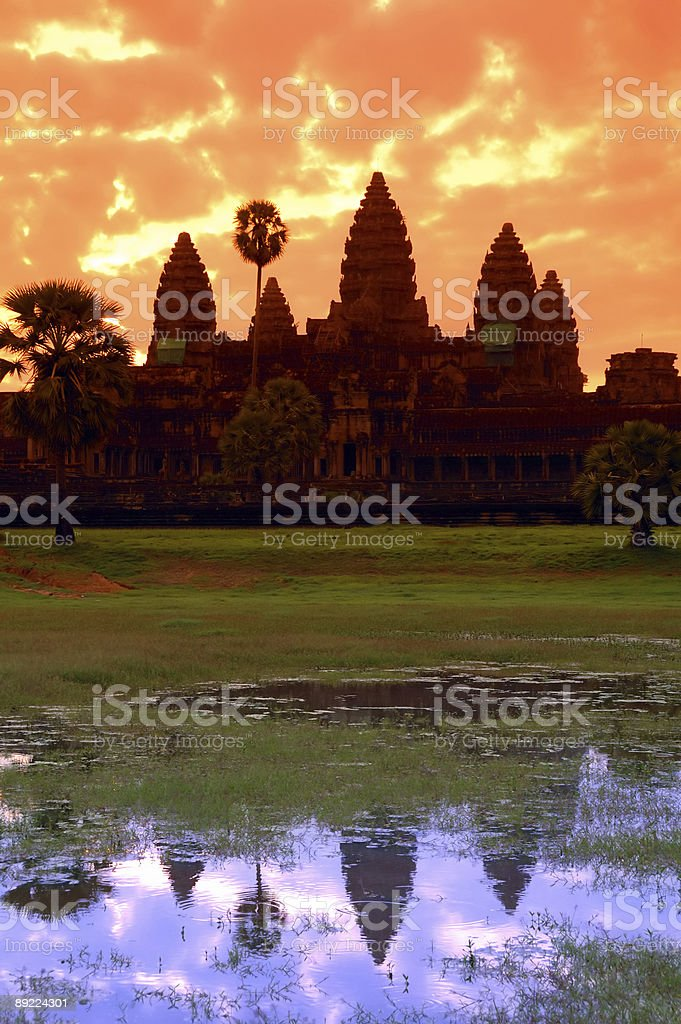 Angkor Wat Reflection and Silhouette royalty-free stock photo