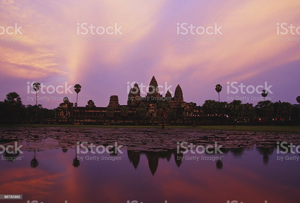 Angkor Wat Reflection, Cambodia royalty-free stock photo