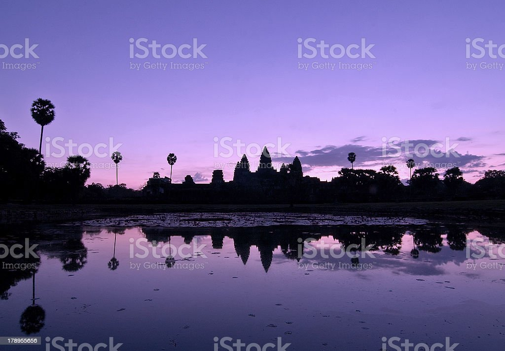 Angkor Wat silhouette reflected at sunrise royalty-free stock photo