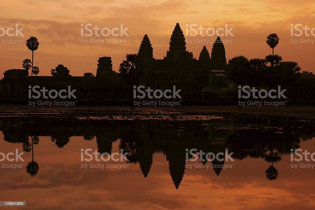 Angkor Wat Silhouette Sunrise Time, Cambodia royalty-free stock photo