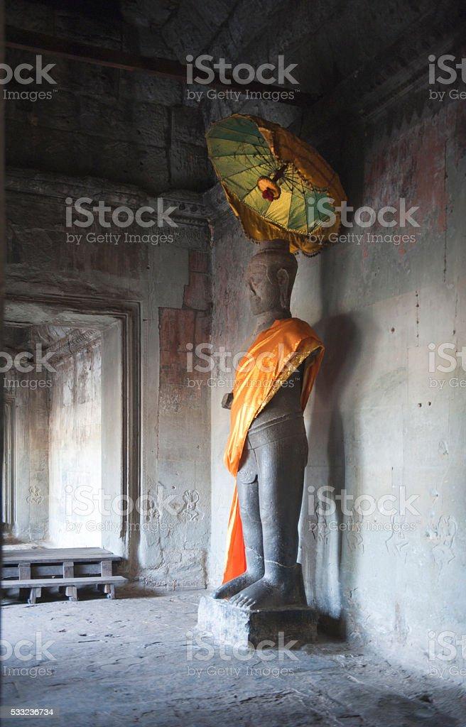 Angkor Wat statue stock photo