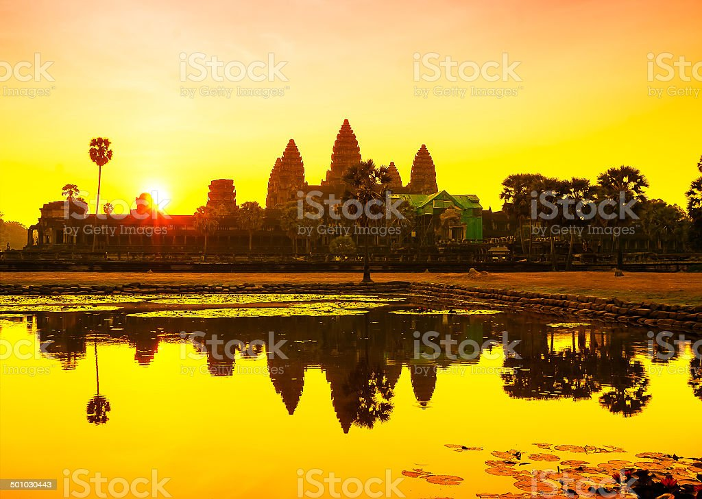 Angkor Wat sunrise at Siem Reap. Cambodia stock photo