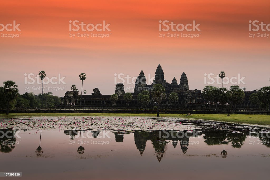 Angkor Wat Sunset, Famous Buddhist Temple at Siem Reap, Cambodia royalty-free stock photo