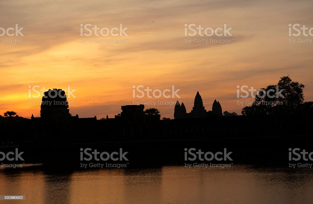 Angkor Wat Sunset, Famous Buddhist Temple at Siem Reap, Cambodia stock photo