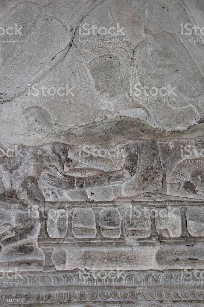 Templo de Angkor Wat, Camboya detalles de arquitectura foto de stock libre de derechos