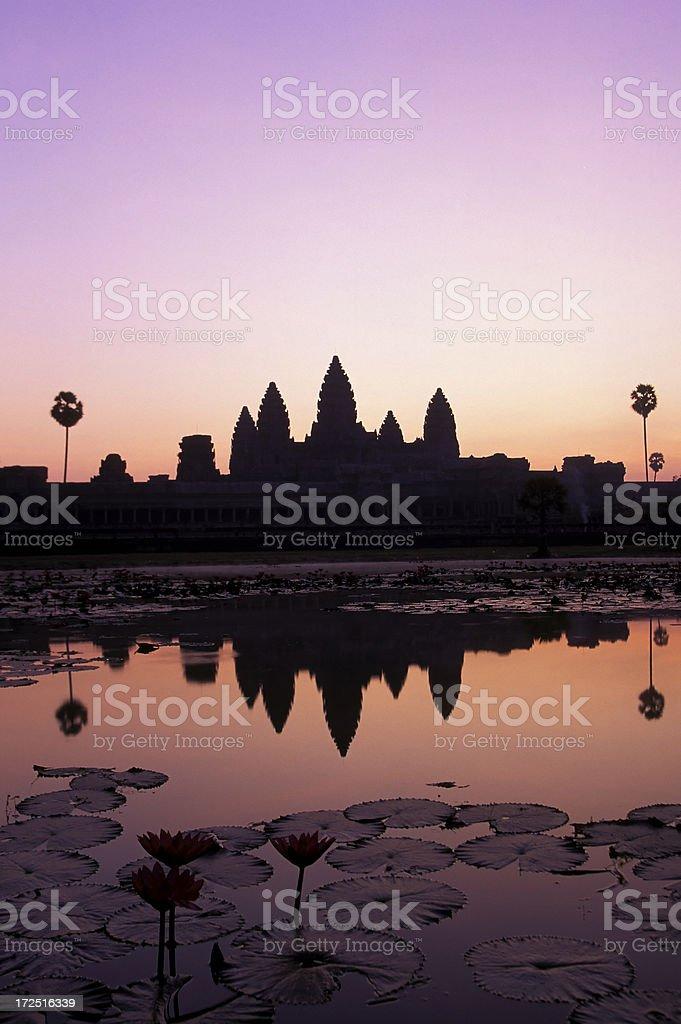 angkor wat temple at dawn siem reap cambodia stock photo
