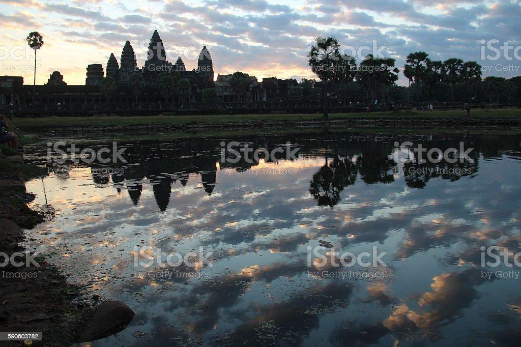 Angkor Wat temple before sunrise stock photo