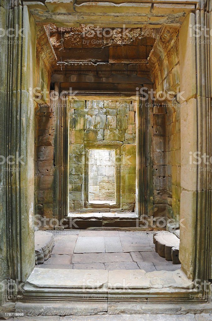 Angkor Wat temple ruins in Siem Reap Cambodia, UNESCO site royalty-free stock photo