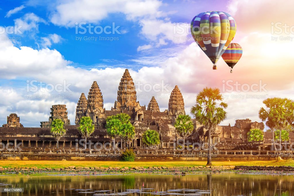 Angkor Wat Temple with balloon, Siem reap. stock photo