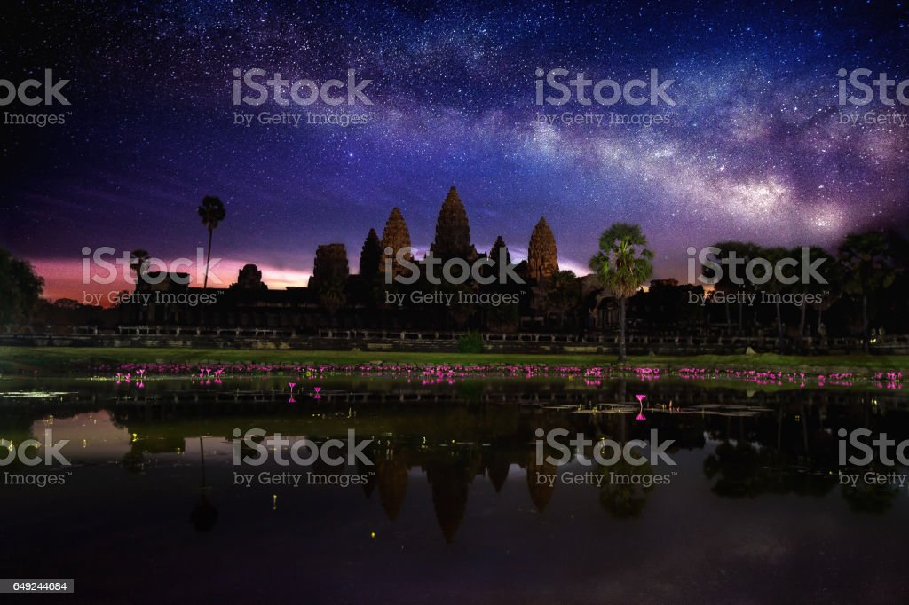 Angkor Wat Temple with Milky Way and Star at night. stock photo