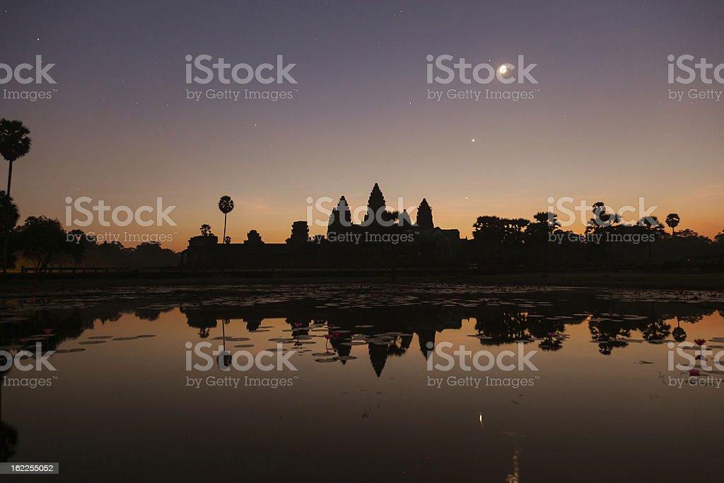 Angkor Wat under moonlight, Cambodia stock photo