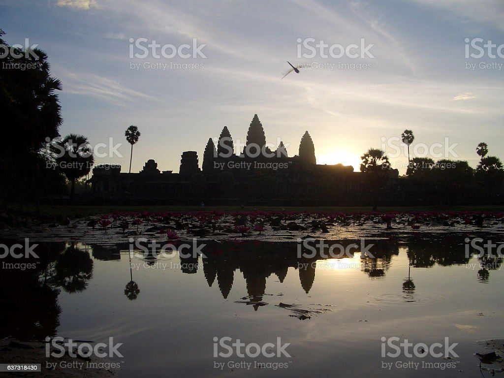 Angkor Wat under Sunrise with reflection, Siem Reap, Cambodia stock photo