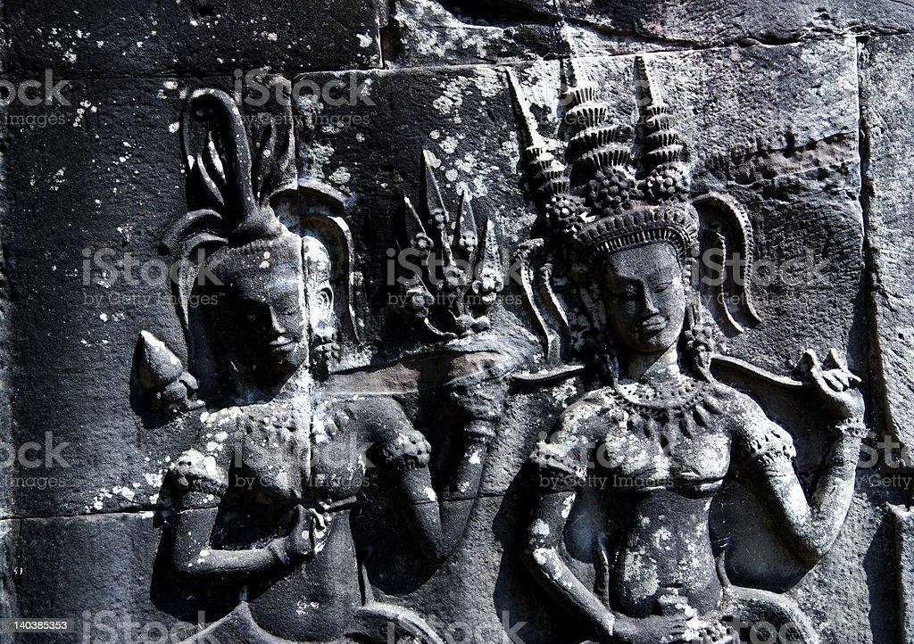Angkor Wat Wall Relief, Cambodia royalty-free stock photo