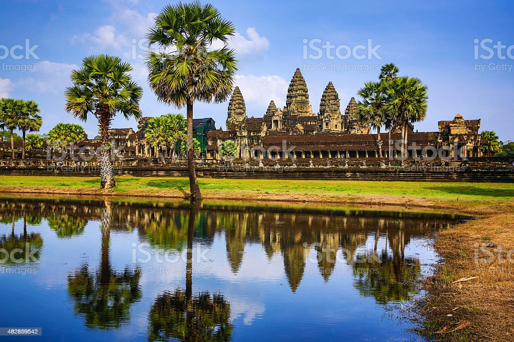 Angkor Wat with reflection pond during day time stock photo