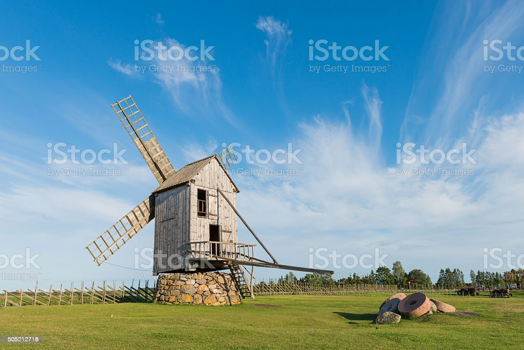 Angla windmill in Saaremaa stock photo