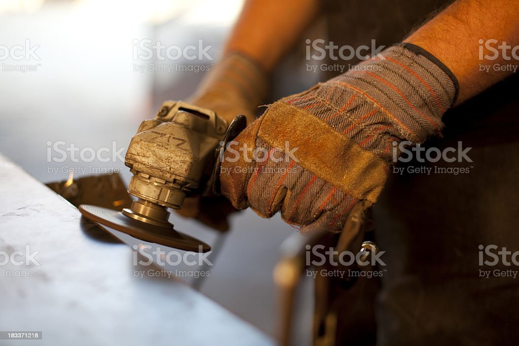 Angle Grinder on Metal royalty-free stock photo