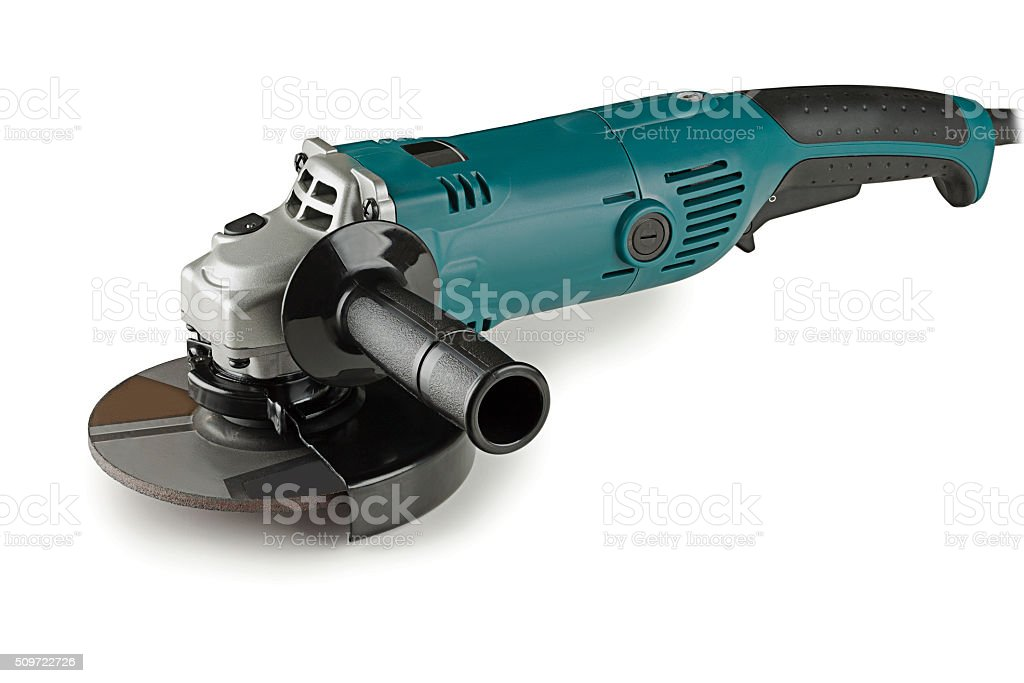 angle grinders on a white background stock photo