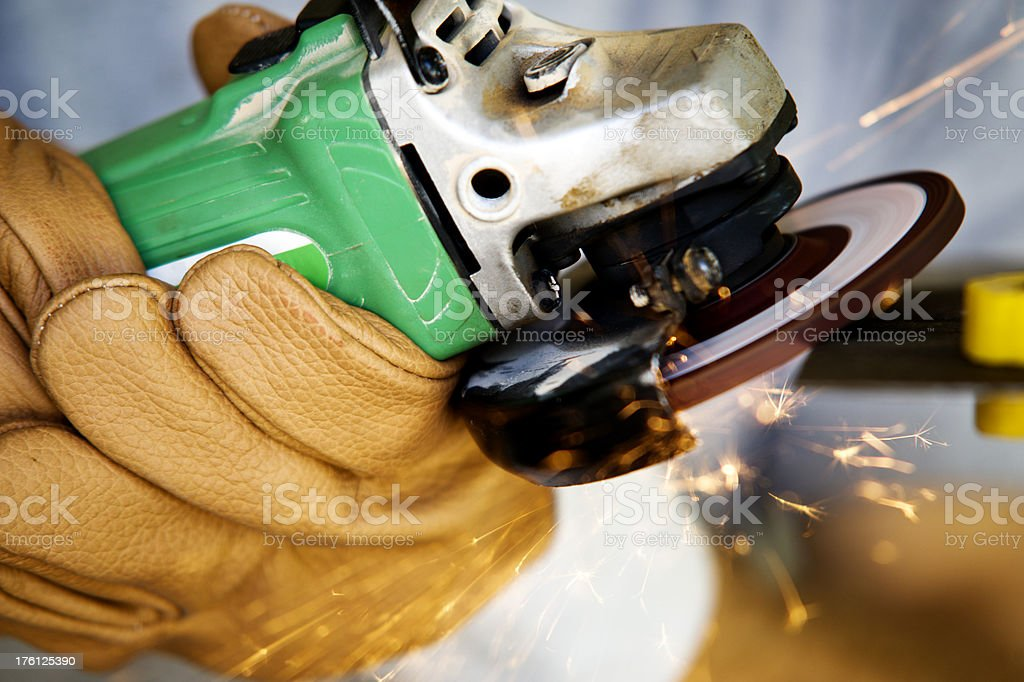 Angle Grinding Close Up stock photo