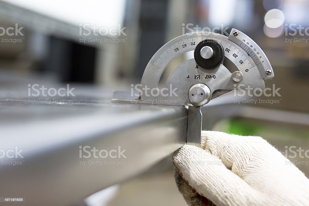 Angle Measurering with Protractor stock photo