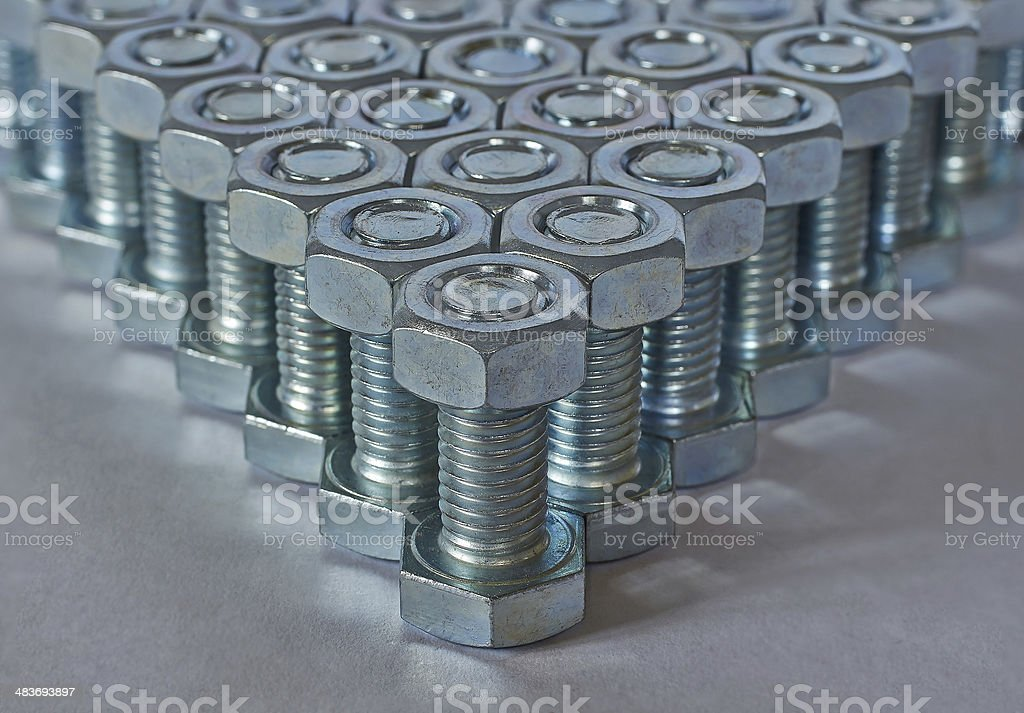 angle of bolts and nuts royalty-free stock photo