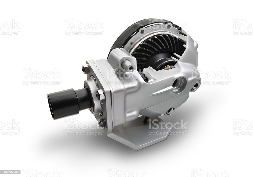 Angle transmission gear, view from above, white background royalty-free stock photo