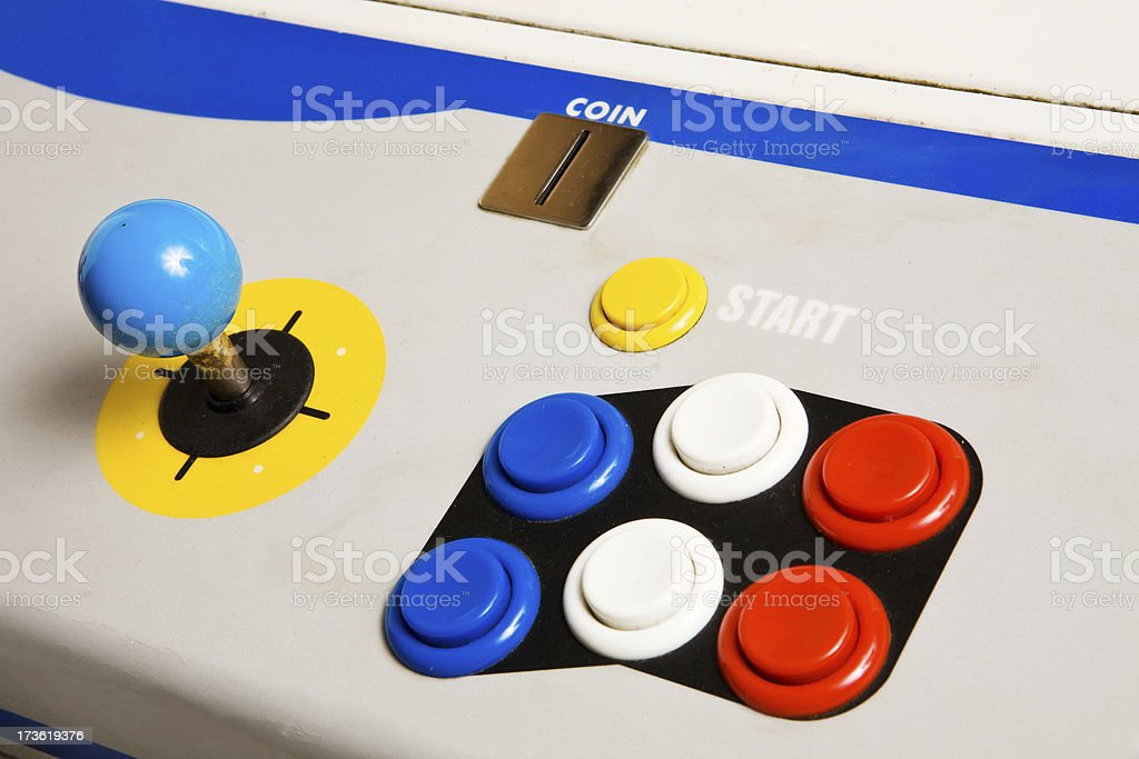 angle view of arcade joystick royalty-free stock photo