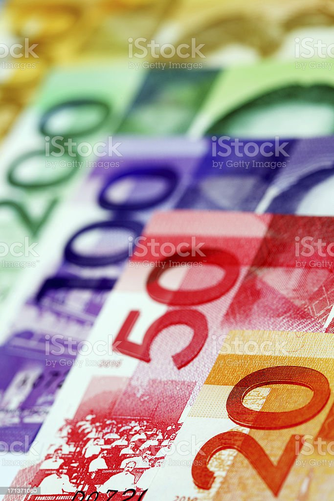 Angle view of New Philippine currency stock photo