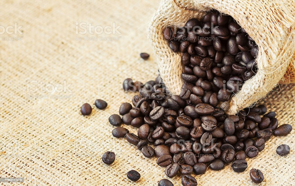 Angle view of roasted coffee beans in jute bag royalty-free stock photo