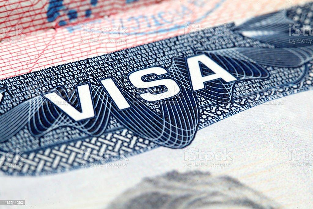 Angle view of USA visa stamp stock photo