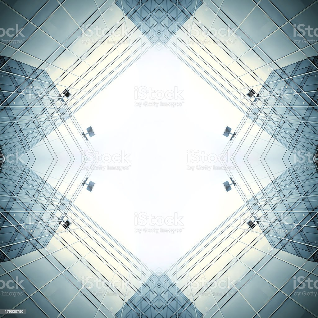 angle view to steel blue background of glass high rise royalty-free stock photo