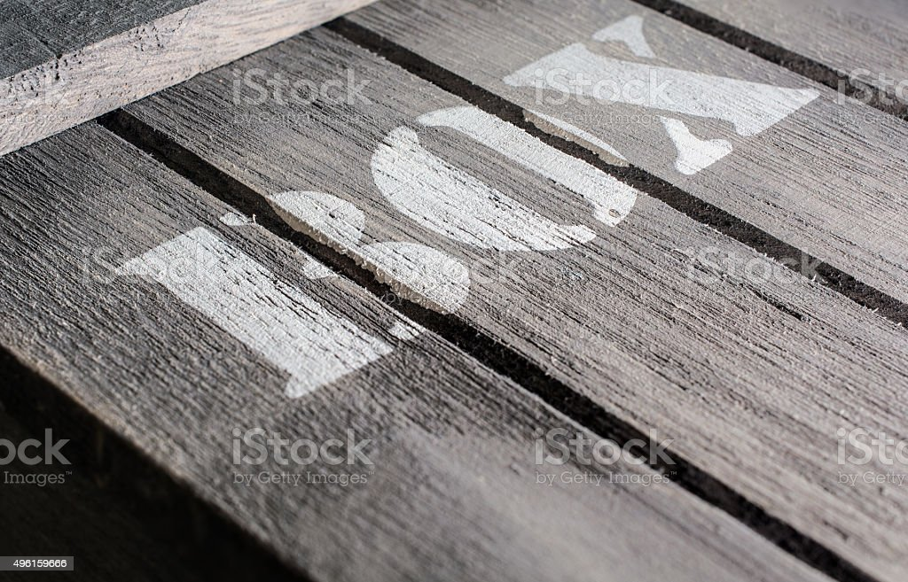 Angled Macro Of Wood Panels With A BOX Logo stock photo