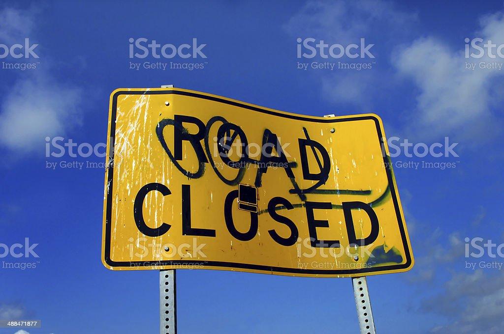 Angled Road Closed stock photo