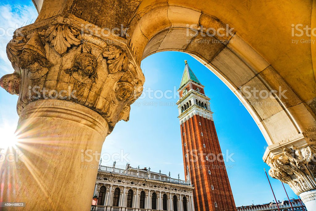 Angled shot of the Piazza de San Marco in Venice, Italy stock photo