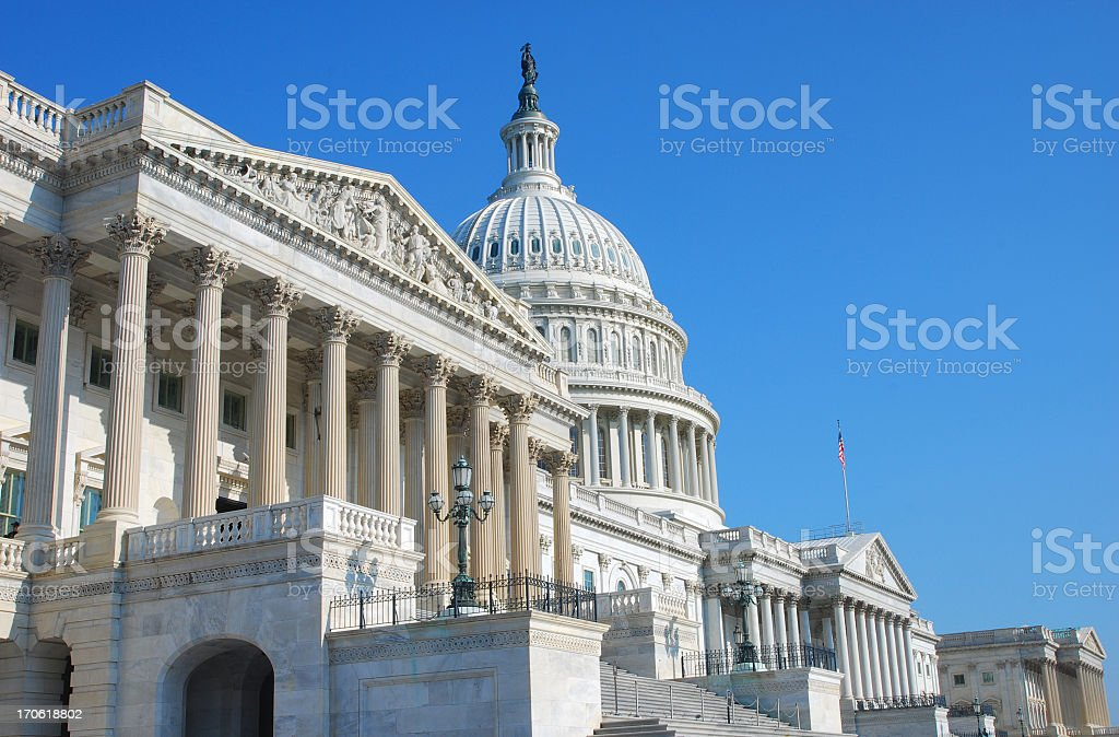 Angled shot of the US Congress building stock photo
