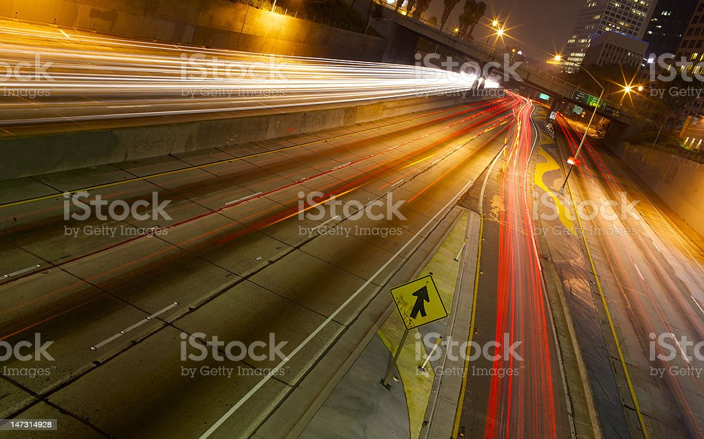 Angled Time Laspe over Freeway Traffic royalty-free stock photo